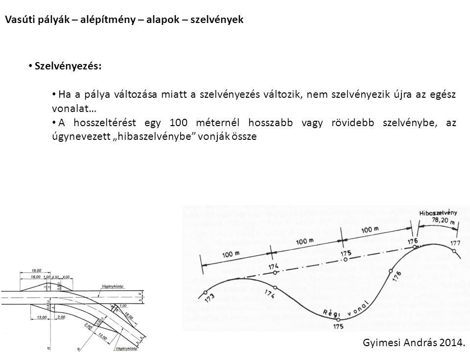 Vasúti pályák – alépítmény – alapok – szelvények Szelvényezés: Ha a pálya változása miatt a szelvényezés változik, nem szelvényezik újra az egész vona
