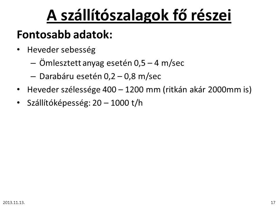 A szállítószalagok fő részei 2013.11.13.17 Fontosabb adatok: Heveder sebesség – Ömlesztett anyag esetén 0,5 – 4 m/sec – Darabáru esetén 0,2 – 0,8 m/se