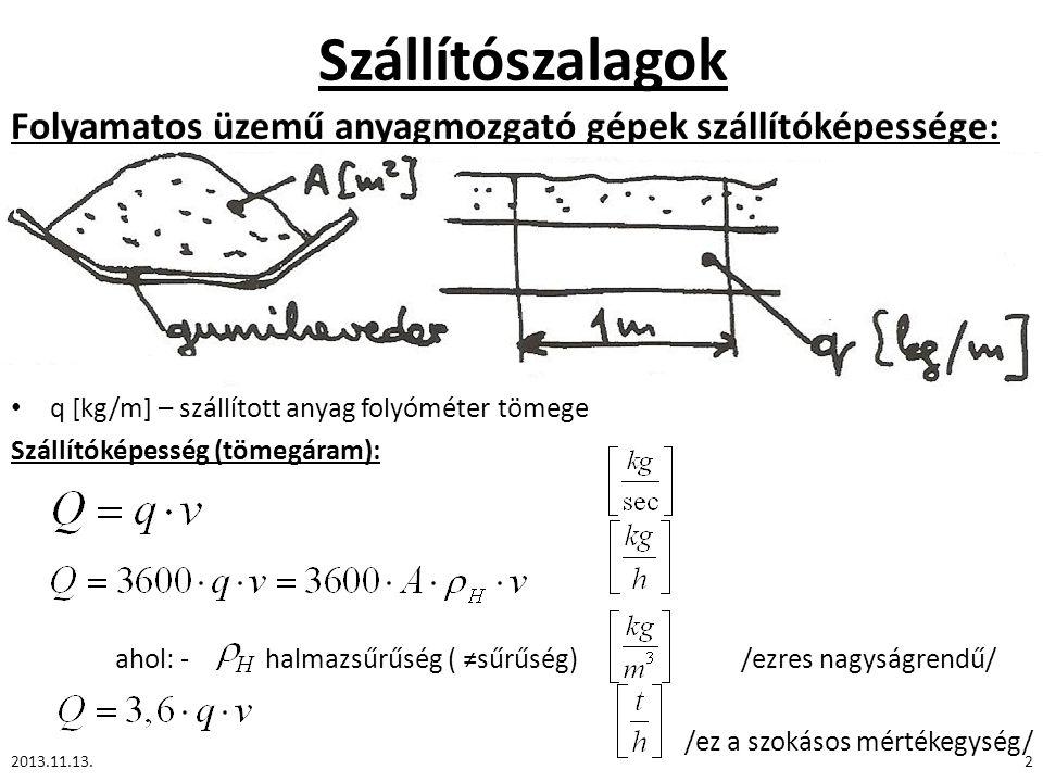 Szállítószalagok 2013.11.13.3 Adagokban történő szállításnál: Darabáru esetén: --- követési időköz