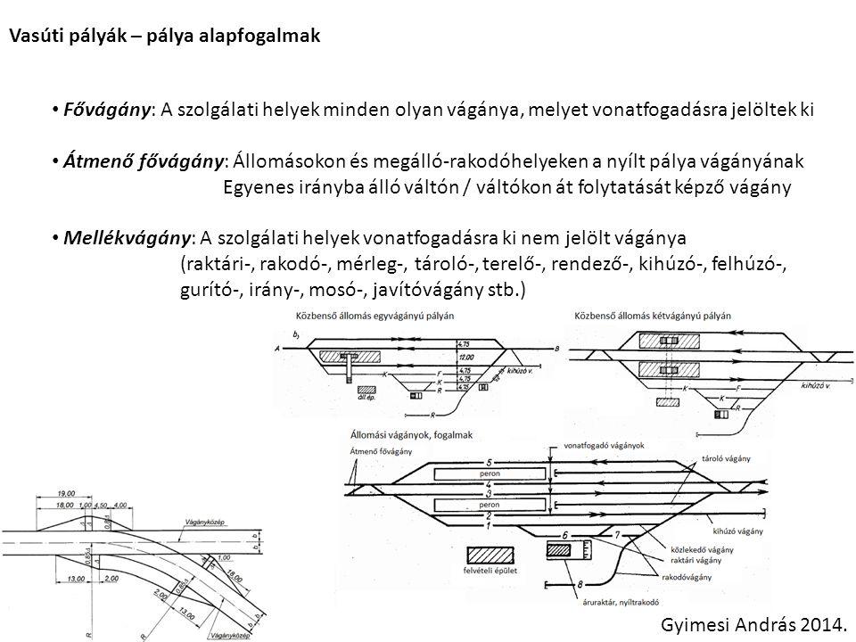Vasúti pályák – pálya alapfogalmak Gyimesi András 2014. Fővágány: A szolgálati helyek minden olyan vágánya, melyet vonatfogadásra jelöltek ki Átmenő f
