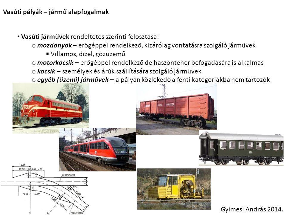 Vasúti pályák – jármű alapfogalmak Gyimesi András 2014. Vasúti járművek rendeltetés szerinti felosztása: o mozdonyok – erőgéppel rendelkező, kizárólag