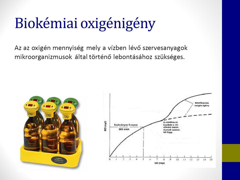Biokémiai oxigénigény Az az oxigén mennyiség mely a vízben lévő szervesanyagok mikroorganizmusok által történő lebontásához szükséges.