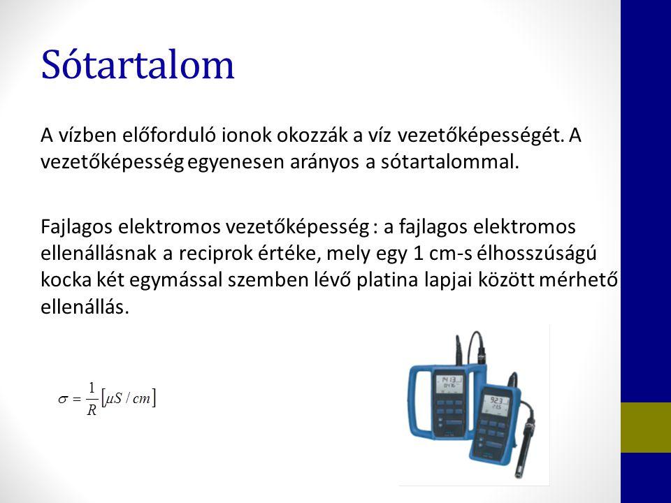 Sótartalom A vízben előforduló ionok okozzák a víz vezetőképességét. A vezetőképesség egyenesen arányos a sótartalommal. Fajlagos elektromos vezetőkép