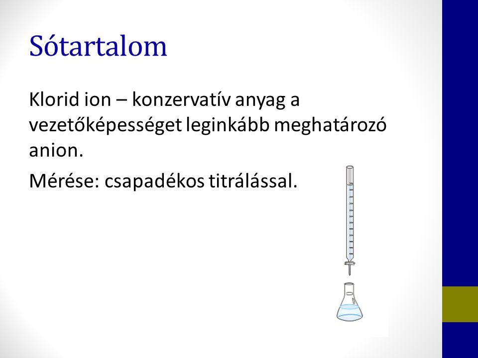 Sótartalom Klorid ion – konzervatív anyag a vezetőképességet leginkább meghatározó anion. Mérése: csapadékos titrálással.