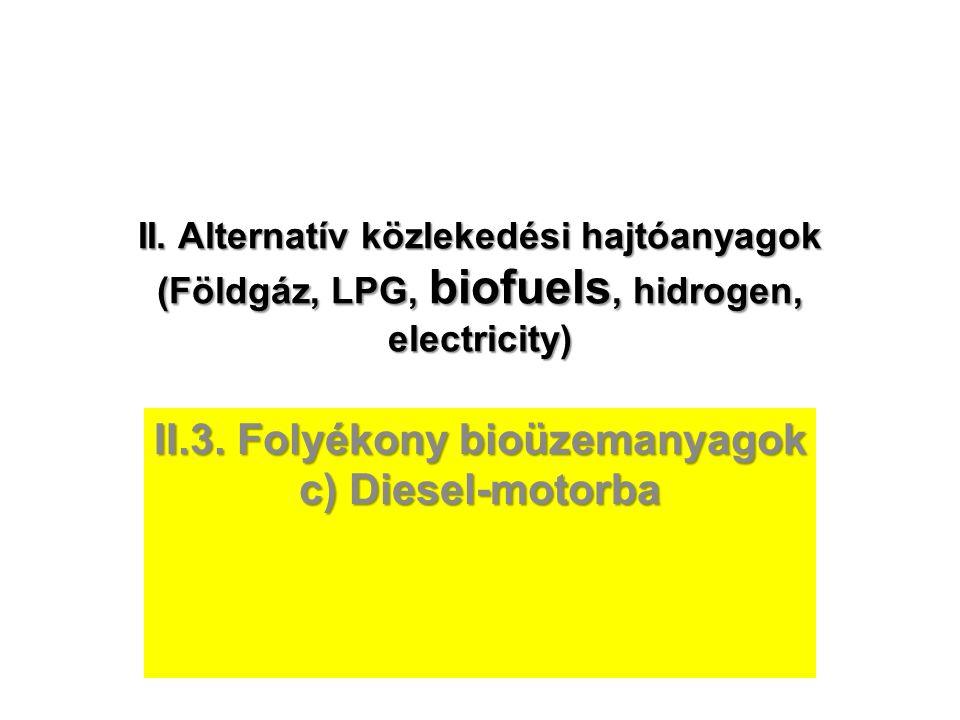 II. Alternatív közlekedési hajtóanyagok (Földgáz, LPG, biofuels, hidrogen, electricity) II.3. Folyékony bioüzemanyagok c) Diesel-motorba
