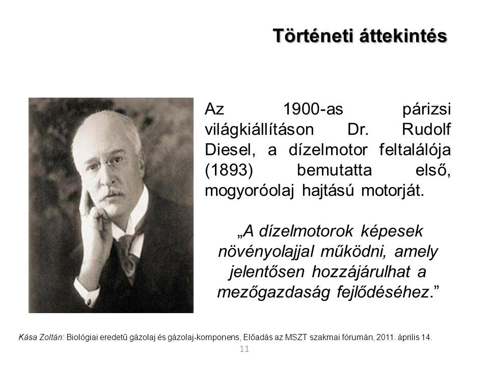11 Történeti áttekintés Az 1900-as párizsi világkiállításon Dr. Rudolf Diesel, a dízelmotor feltalálója (1893) bemutatta első, mogyoróolaj hajtású mot