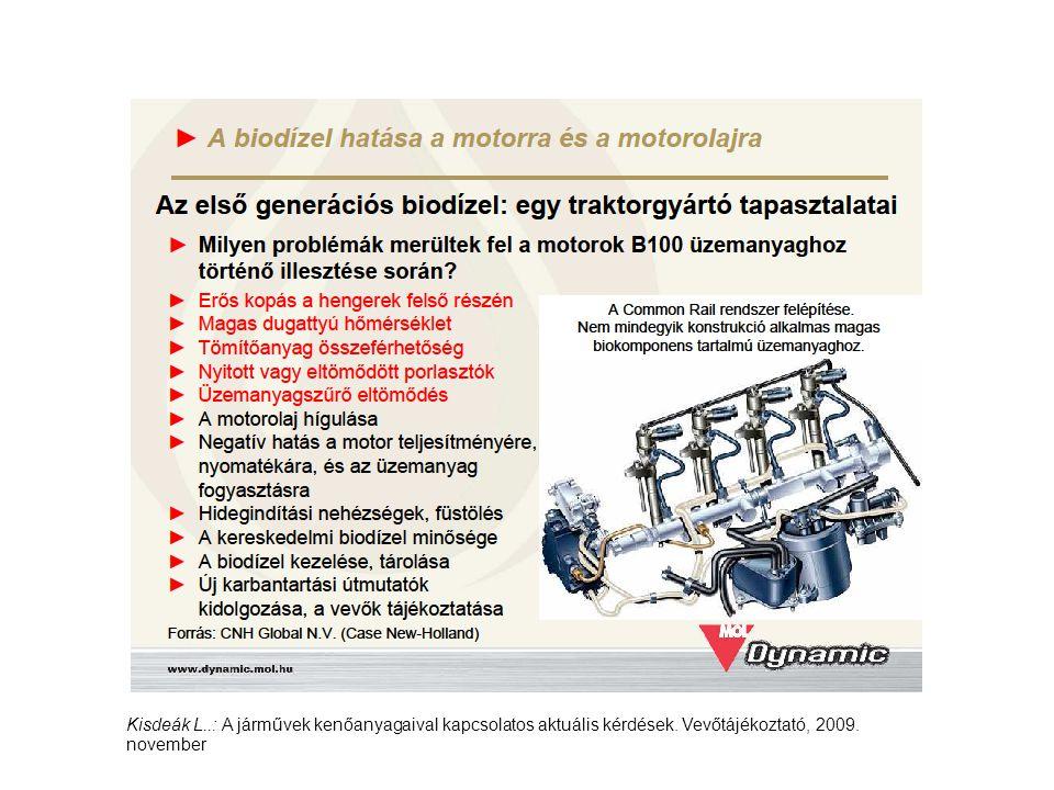 Kisdeák L..: A járművek kenőanyagaival kapcsolatos aktuális kérdések. Vevőtájékoztató, 2009. november