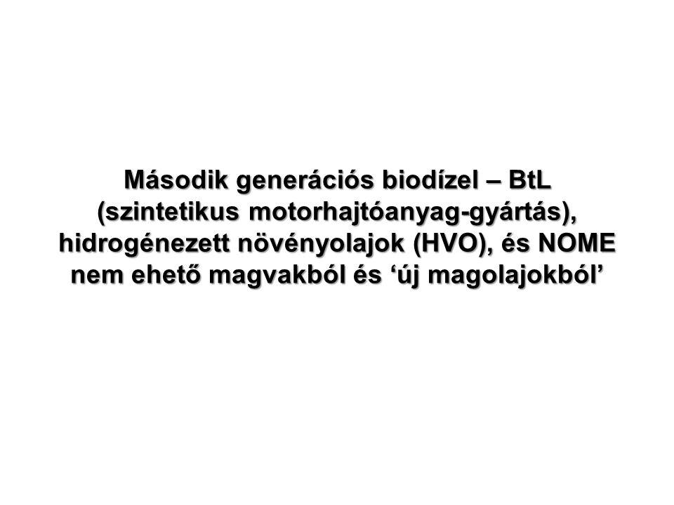 Második generációs biodízel – BtL (szintetikus motorhajtóanyag-gyártás), hidrogénezett növényolajok (HVO), és NOME nem ehető magvakból és 'új magolajo