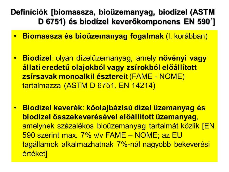 Definíciók [biomassza, bioüzemanyag, biodízel (ASTM D 6751) és biodízel keverőkomponens EN 590´] Biomassza és bioüzemanyag fogalmak (l. korábban) Biod