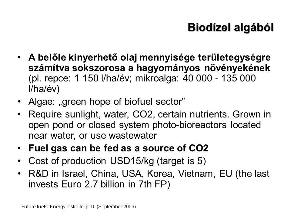 Biodízel algából A belőle kinyerhető olaj mennyisége területegységre számítva sokszorosa a hagyományos növényekének (pl. repce: 1 150 l/ha/év; mikroal
