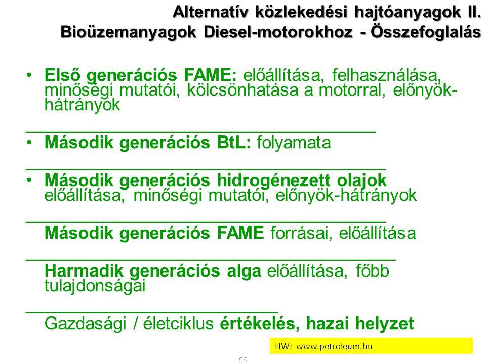 53 Alternatív közlekedési hajtóanyagok II. Bioüzemanyagok Diesel-motorokhoz - Összefoglalás Első generációs FAME: előállítása, felhasználása, minőségi