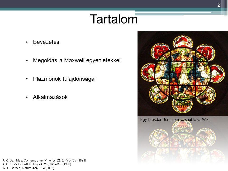 2 Tartalom Egy Dresdeni templom rózsaablaka, Wiki J. R. Sambles, Contemporary Physics 32, 3, 173-183 (1991) A. Otto, Zeitschrift für Physik 216, 398-4