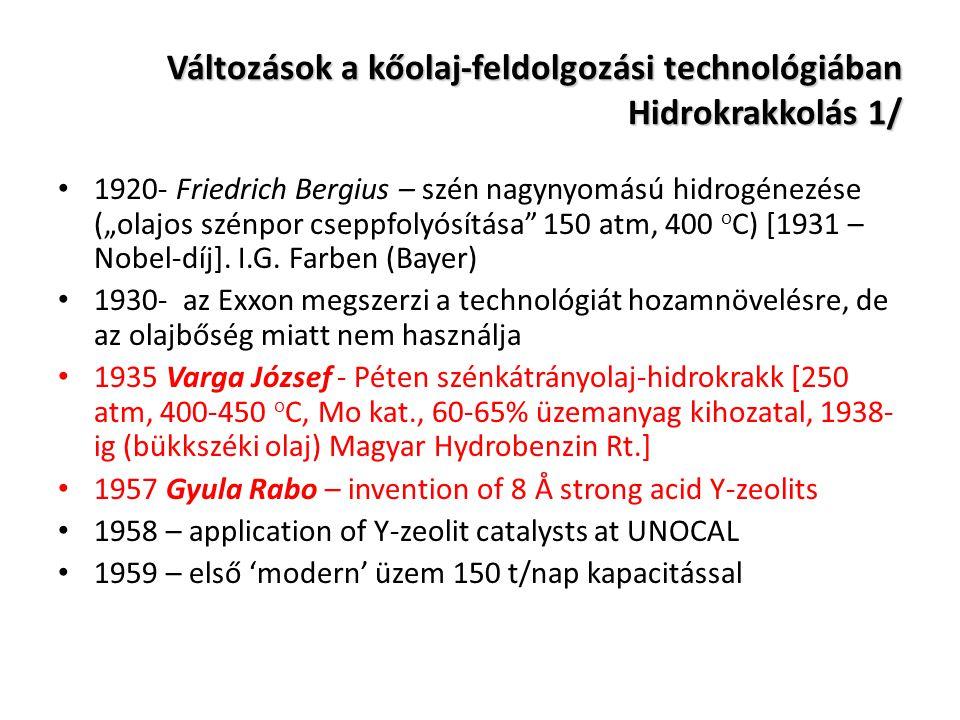 """Változások a kőolaj-feldolgozási technológiában Hidrokrakkolás 1/ 1920- Friedrich Bergius – szén nagynyomású hidrogénezése (""""olajos szénpor cseppfolyó"""