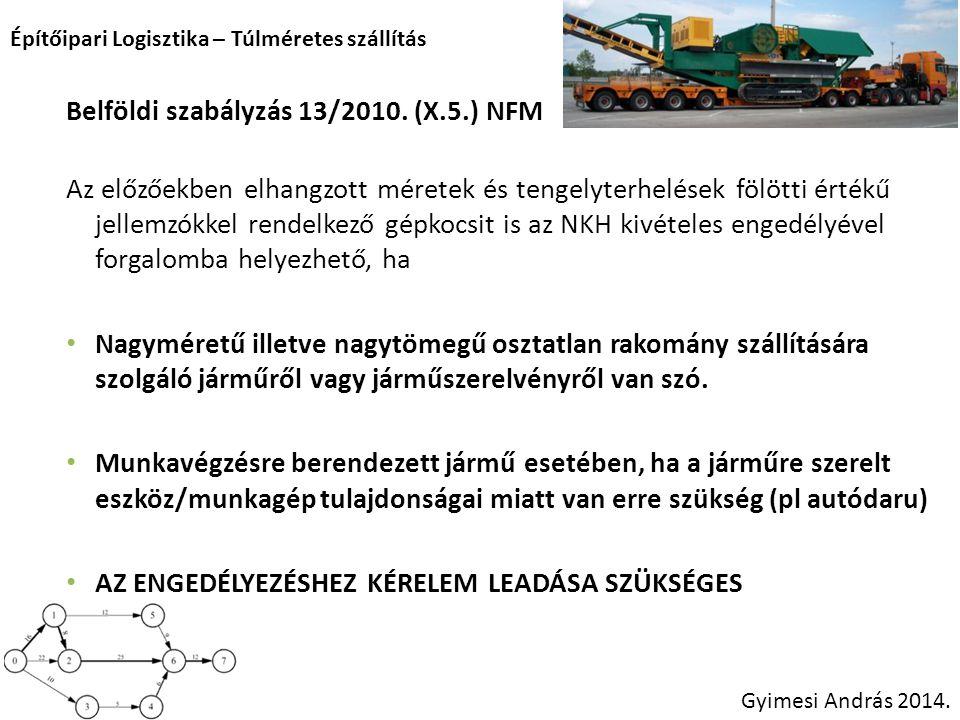 Építőipari Logisztika – Túlméretes szállítás Gyimesi András 2014. Belföldi szabályzás 13/2010. (X.5.) NFM Az előzőekben elhangzott méretek és tengelyt