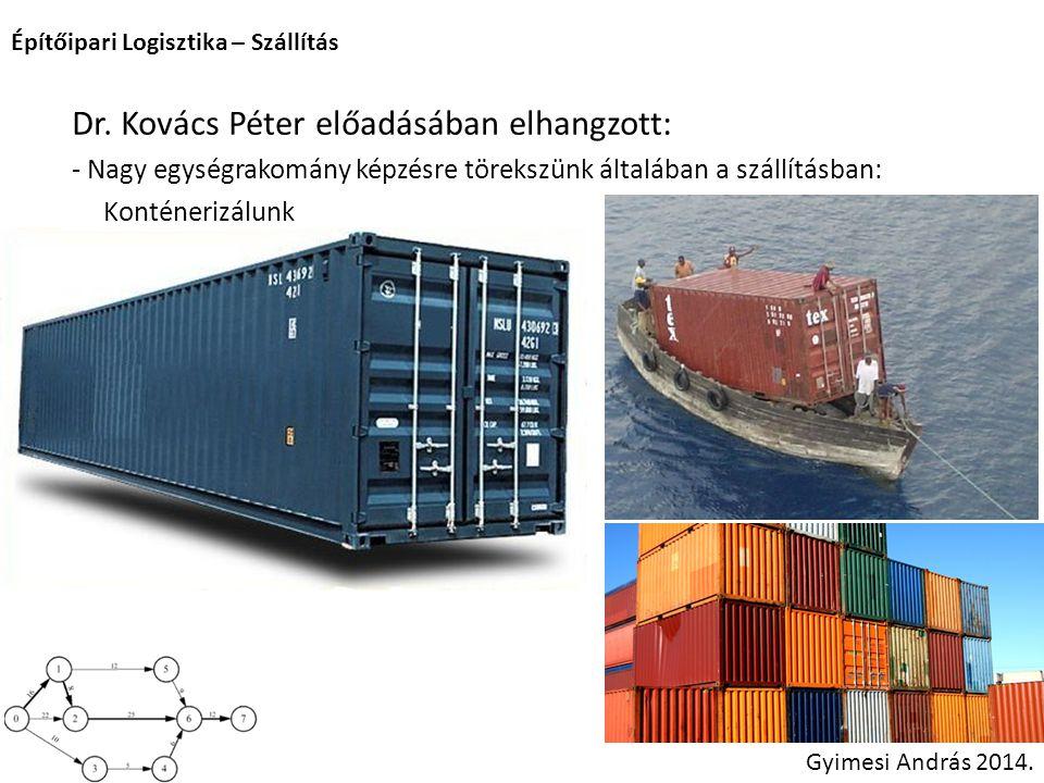 Építőipari Logisztika – Szállítás Gyimesi András 2014. Dr. Kovács Péter előadásában elhangzott: - Nagy egységrakomány képzésre törekszünk általában a