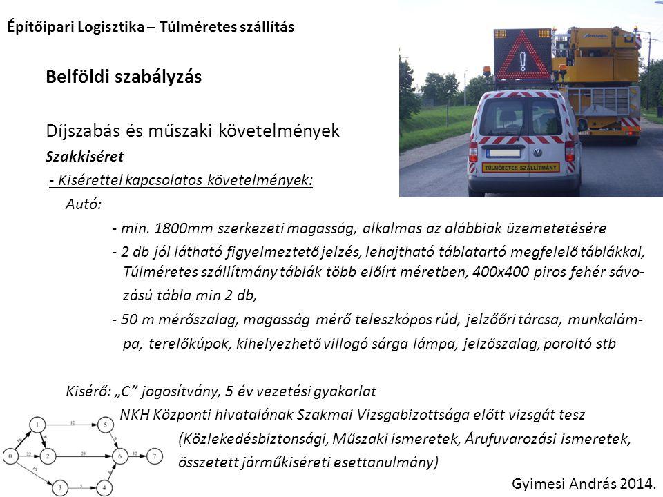 Építőipari Logisztika – Túlméretes szállítás Gyimesi András 2014. Belföldi szabályzás Díjszabás és műszaki követelmények Szakkiséret - Kisérettel kapc
