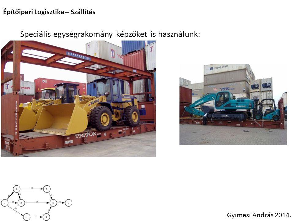 Építőipari Logisztika – Szállítás Gyimesi András 2014. Speciális egységrakomány képzőket is használunk: