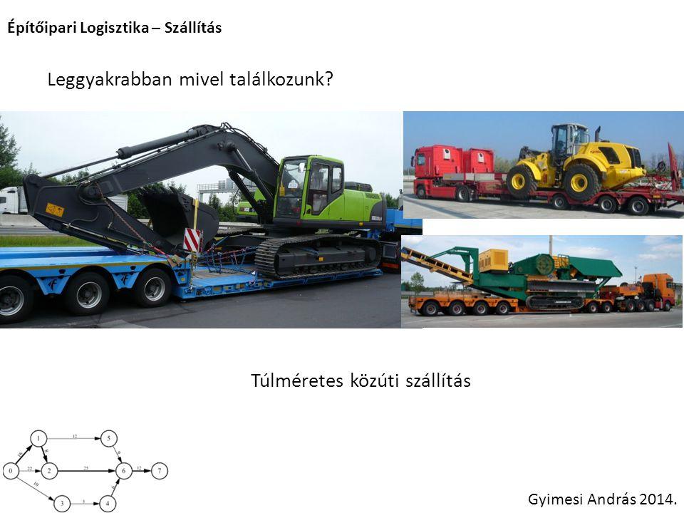 Építőipari Logisztika – Szállítás Gyimesi András 2014. Leggyakrabban mivel találkozunk? Túlméretes közúti szállítás