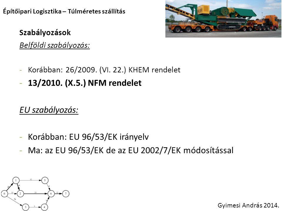 Építőipari Logisztika – Túlméretes szállítás Gyimesi András 2014. Szabályozások Belföldi szabályozás: -Korábban: 26/2009. (VI. 22.) KHEM rendelet -13/