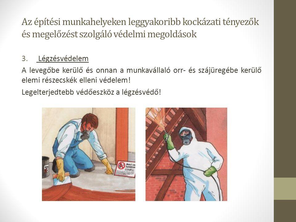 Az építési munkahelyeken leggyakoribb kockázati tényezők és megelőzést szolgáló védelmi megoldások 3. Légzésvédelem A levegőbe kerülő és onnan a munka