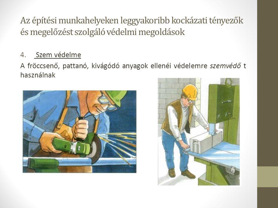 Az építési munkahelyeken leggyakoribb kockázati tényezők és megelőzést szolgáló védelmi megoldások 4. Szem védelme A fröccsenő, pattanó, kivágódó anya