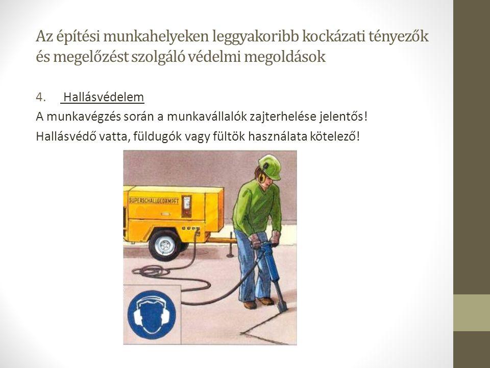 Az építési munkahelyeken leggyakoribb kockázati tényezők és megelőzést szolgáló védelmi megoldások 4. Hallásvédelem A munkavégzés során a munkavállaló