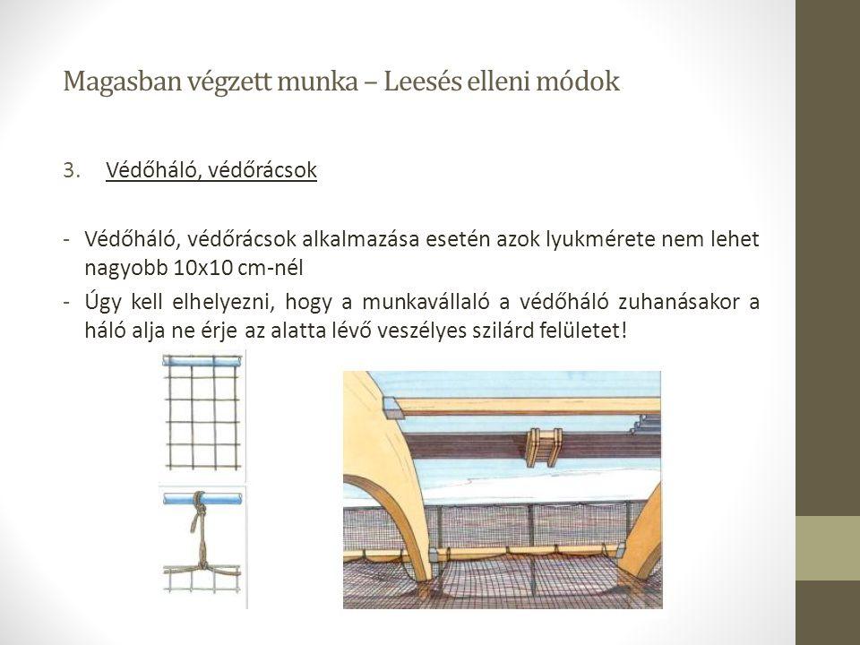 Magasban végzett munka – Leesés elleni módok 3.Védőháló, védőrácsok -Védőháló, védőrácsok alkalmazása esetén azok lyukmérete nem lehet nagyobb 10x10 c
