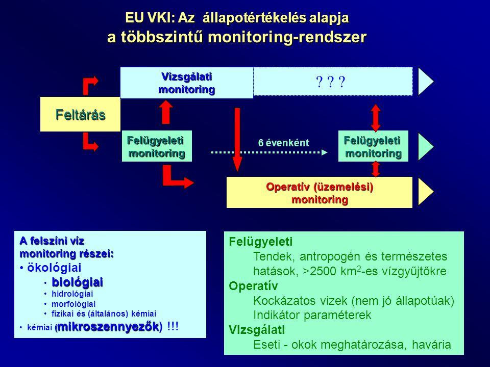 EU VKI: Az állapotértékelés alapja a többszintű monitoring-rendszer Feltárás Vizsgálati monitoring ? ? ? Felügyeletimonitoring Operatív (üzemelési) mo