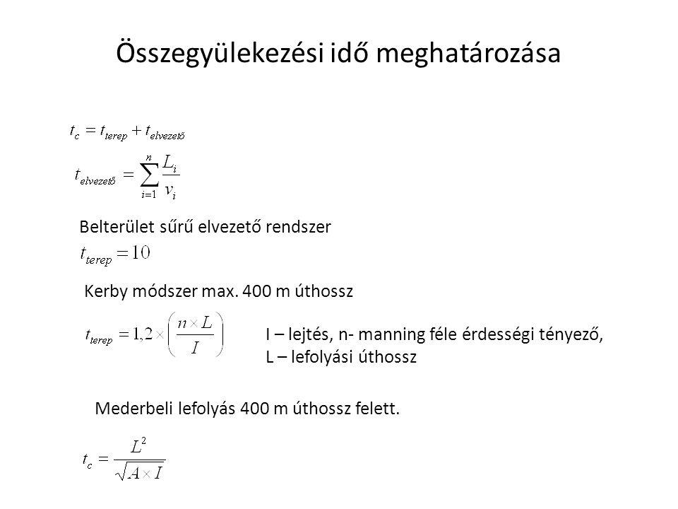Összegyülekezési idő meghatározása Belterület sűrű elvezető rendszer Kerby módszer max. 400 m úthossz I – lejtés, n- manning féle érdességi tényező, L