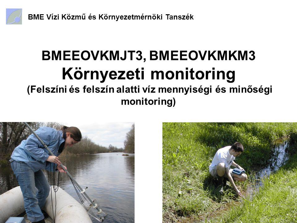Tárgy célja Környezeti monitoring rendszerek szerkezetének és működésének megismerése; A működéshez szükséges jogi és gazdasági környezet bemutatása; A főbb természeti erőforrások (víz, talaj, levegő) különböző célú monitorozásának gyakorlata.