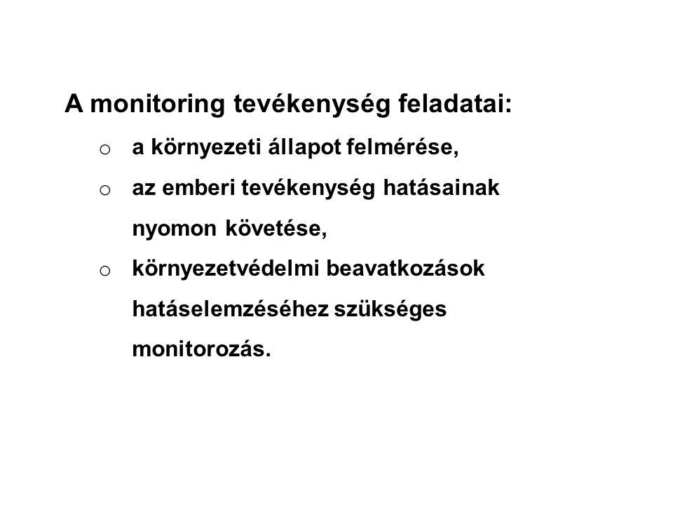 A monitoring tevékenység feladatai: o a környezeti állapot felmérése, o az emberi tevékenység hatásainak nyomon követése, o környezetvédelmi beavatkoz