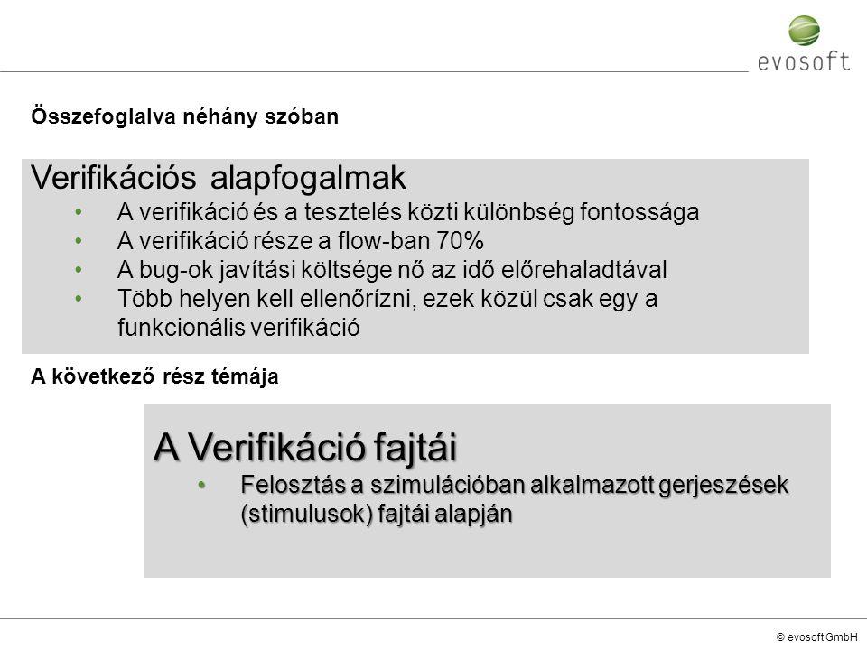 © evosoft GmbH A következő rész témája Verifikációs alapfogalmak A verifikáció és a tesztelés közti különbség fontossága A verifikáció része a flow-ba