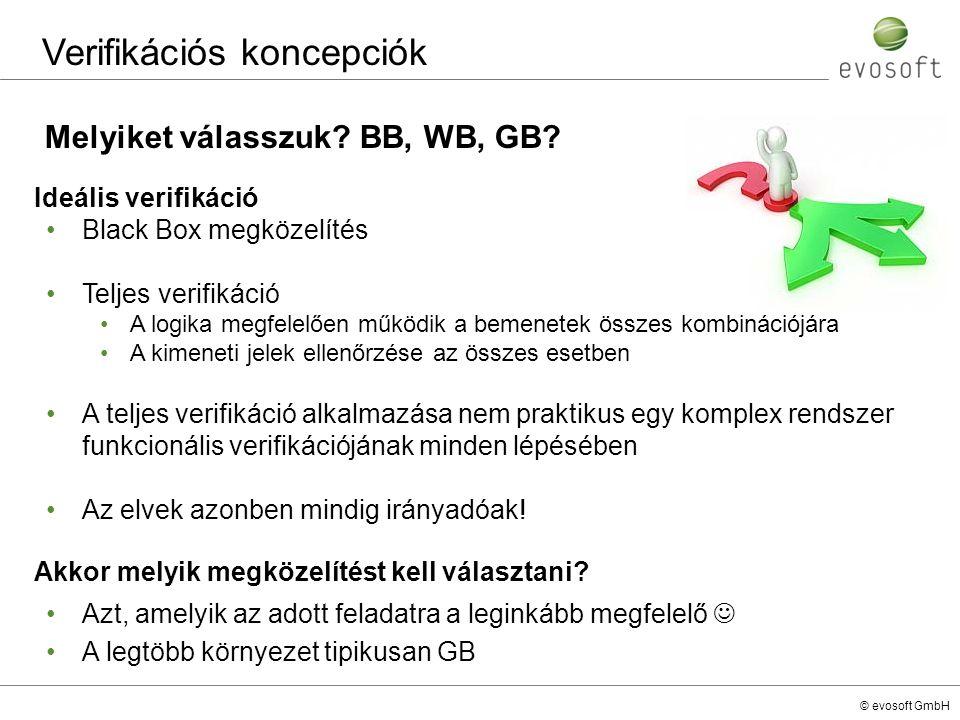 © evosoft GmbH Melyiket válasszuk? BB, WB, GB? Verifikációs koncepciók Ideális verifikáció Black Box megközelítés Teljes verifikáció A logika megfelel