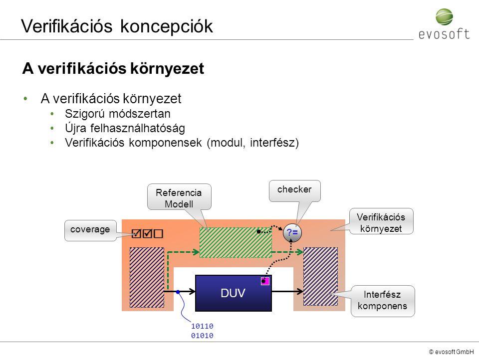 © evosoft GmbH Verifikációs koncepciók A verifikációs környezet Szigorú módszertan Újra felhasználhatóság Verifikációs komponensek (modul, interfész)