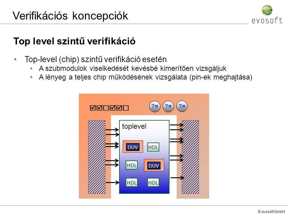 © evosoft GmbH Verifikációs koncepciók Top level szintű verifikáció Top-level (chip) szintű verifikáció esetén A szubmodulok viselkedését kevésbé kime