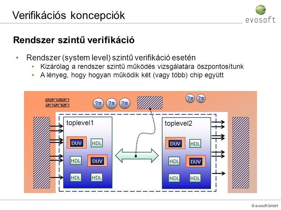 © evosoft GmbH Verifikációs koncepciók Rendszer szintű verifikáció Rendszer (system level) szintű verifikáció esetén Kizárólag a rendszer szintű működ