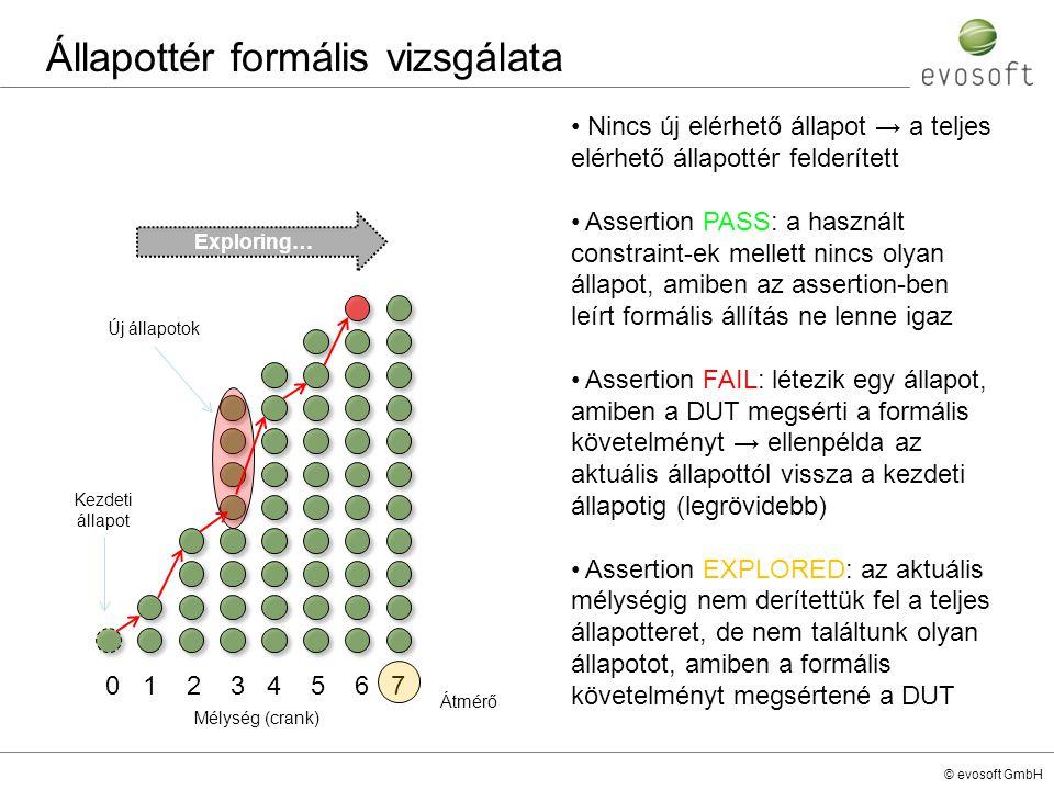 © evosoft GmbH Állapottér formális vizsgálata Nincs új elérhető állapot → a teljes elérhető állapottér felderített Assertion PASS: a használt constrai