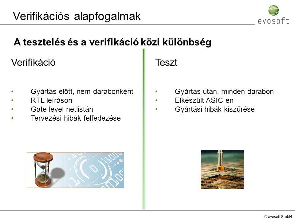 © evosoft GmbH Constrained random szimuláció A verifikáció fajtái A verifikációs teret felosztjuk kisebb egységekre A szűkített tartományon belül egy teszt hatékonyabban működik egy teszt több futás alatt más utakat járhat be, de a lehetőségek száma csökkent a verifikációs tér szűkítésével Ki lehet zárni a nem üzemi állapotokat (use case) HDL egy állapota BUG-os állapot Nem üzemi állapot A teszt által bejárt állapot futás1futás2 Állapotok egy tartománya egy tesztre Constrained random szimuláció