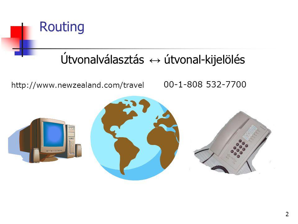 22 Az autonóm rendszerek Az autonóm rendszer (AS) olyan egység, amelyen belül egységes routing policy érvényesül egyetlen hálózat, vagy hálózatok csoportja közös hálózatadminisztrátor (vagy azok csoportja) kezeli egyetlen szervezeti egység (pl.