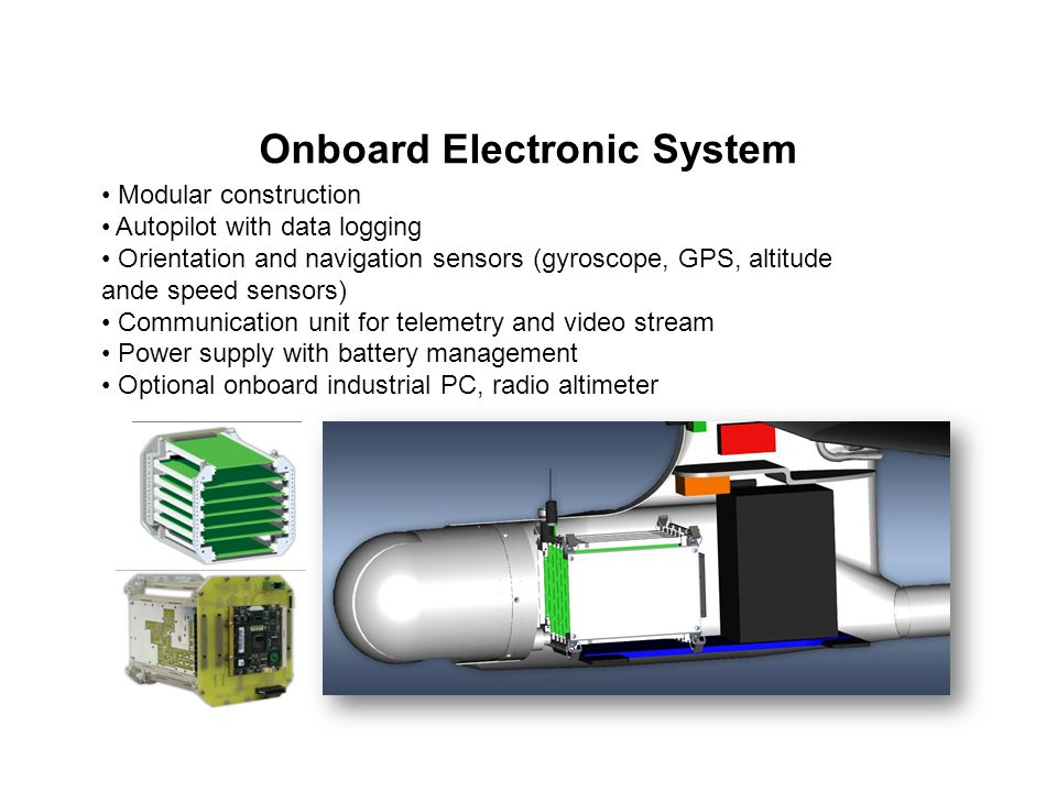Onboard Electronic System Modular construction Autopilot with data logging Orientation and navigation sensors (gyroscope, GPS, altitude ande speed sen