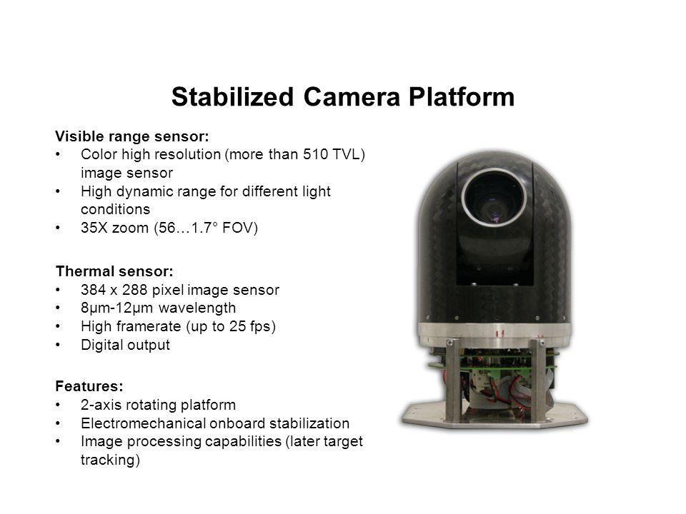 Stabilized Camera Platform Visible range sensor: Color high resolution (more than 510 TVL) image sensor High dynamic range for different light conditi