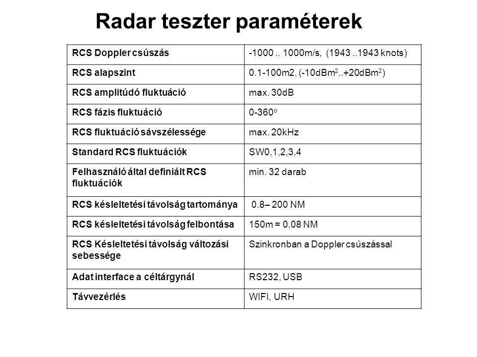 Radar teszter paraméterek RCS Doppler csúszás-1000.. 1000m/s, (1943..1943 knots) RCS alapszint0.1-100m2, (-10dBm 2..+20dBm 2 ) RCS amplitúdó fluktuáci