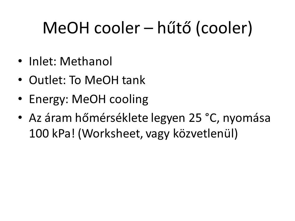 MeOH cooler – hűtő (cooler) Inlet: Methanol Outlet: To MeOH tank Energy: MeOH cooling Az áram hőmérséklete legyen 25 °C, nyomása 100 kPa! (Worksheet,