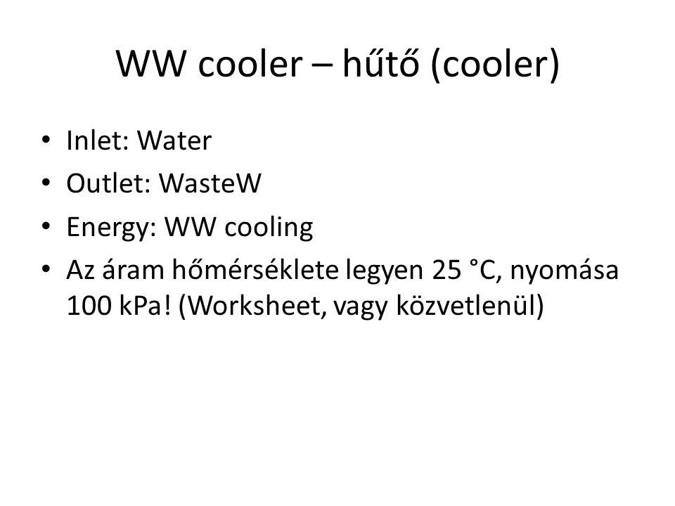 WW cooler – hűtő (cooler) Inlet: Water Outlet: WasteW Energy: WW cooling Az áram hőmérséklete legyen 25 °C, nyomása 100 kPa! (Worksheet, vagy közvetle