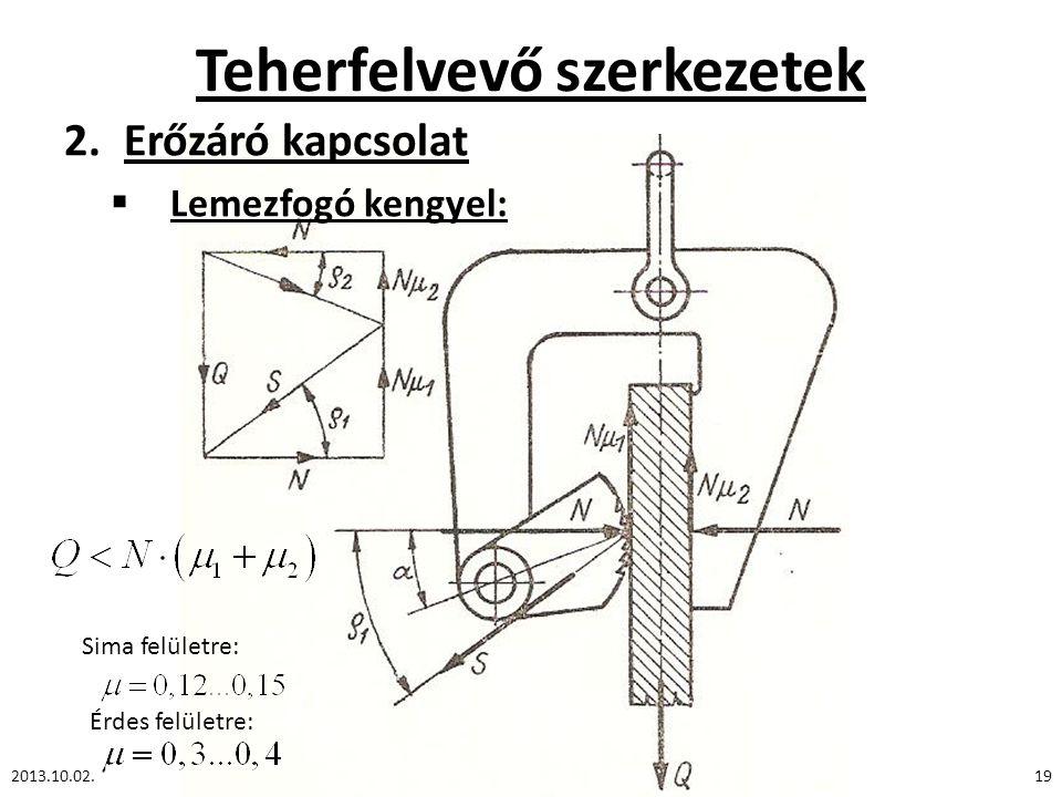 Teherfelvevő szerkezetek 2.Erőzáró kapcsolat  Lemezfogó kengyel: 2013.10.02.19 Sima felületre: Érdes felületre: