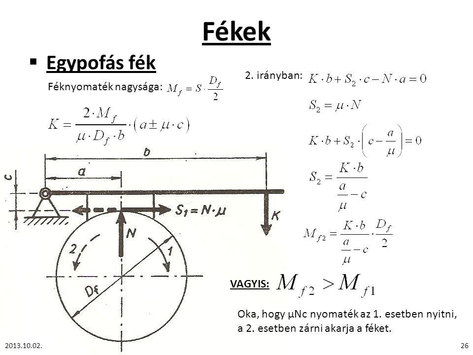 Fékek  Egypofás fék 2013.10.02.26 Féknyomaték nagysága: 2. irányban: VAGYIS: Oka, hogy μNc nyomaték az 1. esetben nyitni, a 2. esetben zárni akarja a