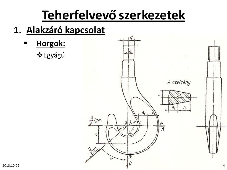 Teherfelvevő szerkezetek 1.Alakzáró kapcsolat  Horgok:  Egyágú 2013.10.02.4