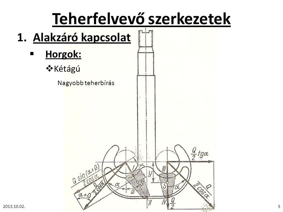 Teherfelvevő szerkezetek 1.Alakzáró kapcsolat  Horgok:  Kétágú 2013.10.02.5 Nagyobb teherbírás