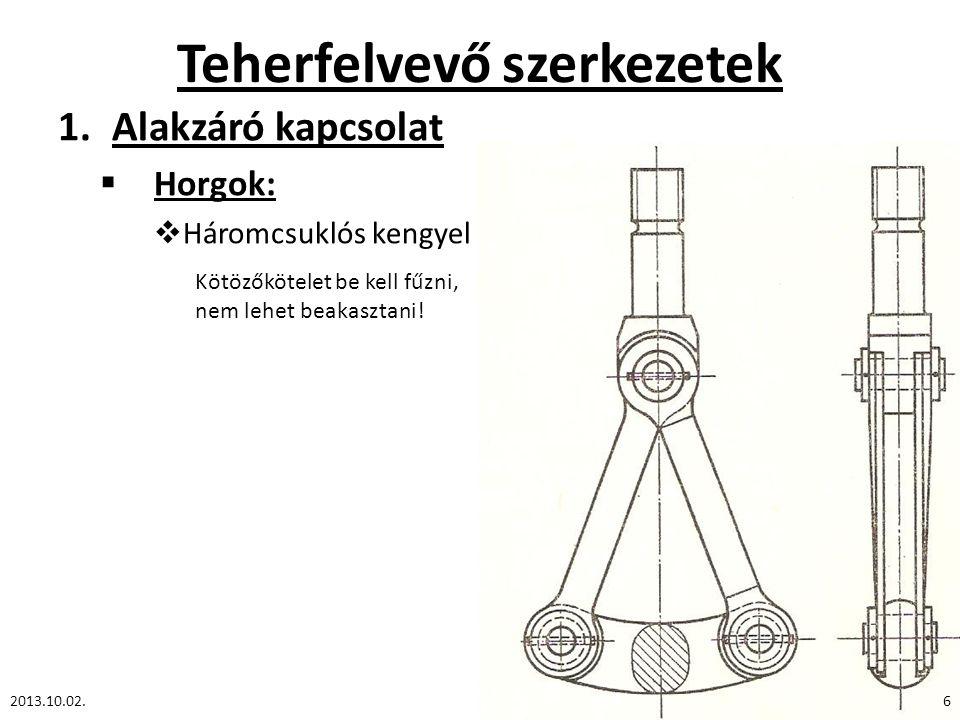 Teherfelvevő szerkezetek 1.Alakzáró kapcsolat  Horgok:  Háromcsuklós kengyel 2013.10.02.6 Kötözőkötelet be kell fűzni, nem lehet beakasztani!