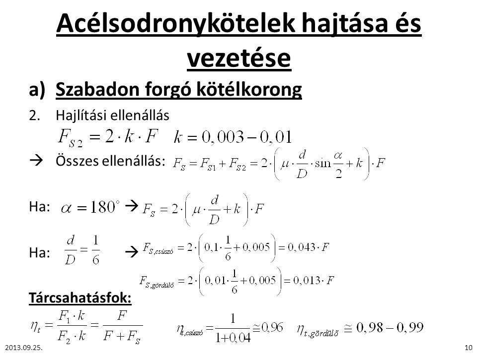 Acélsodronykötelek hajtása és vezetése a)Szabadon forgó kötélkorong 2.Hajlítási ellenállás  Összes ellenállás: Ha:  Tárcsahatásfok: 2013.09.25.10